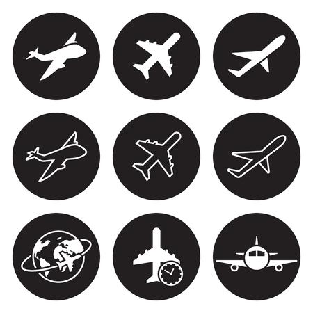 Plane icons set. White on a black background