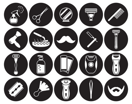 Barber, Shoving icons set. White on a black background
