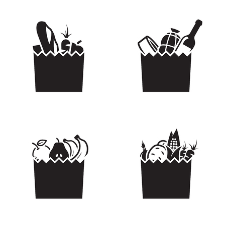 Grocerie bag icons. Black on a white background