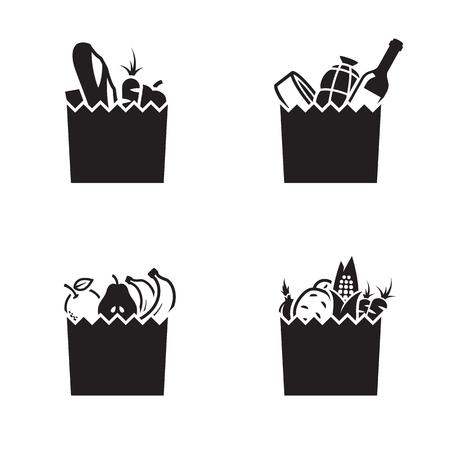 Ikony torby spożywczej. Czarny na białym tle
