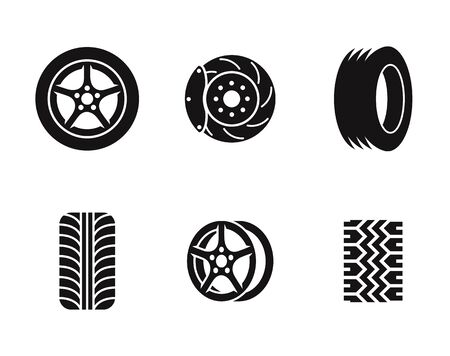 Tire icons set. Black on a white background