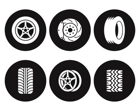 Tire icons set. White on a black background