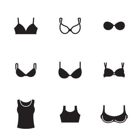 Bras types icons set. Black on a white background Illustration