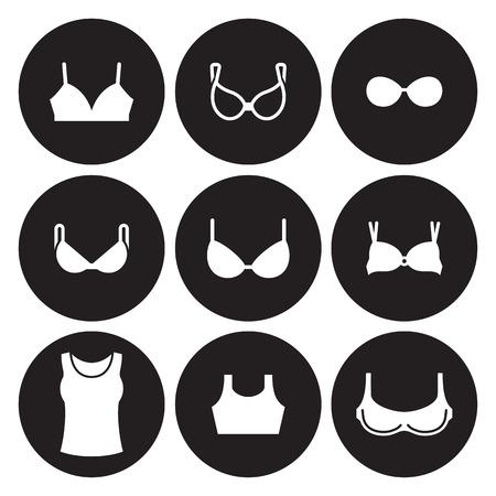 Bras types icons set. White on a black background