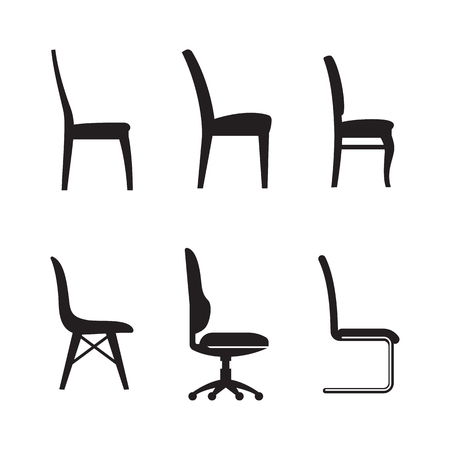 padded: Chair icons set. Black on a white background