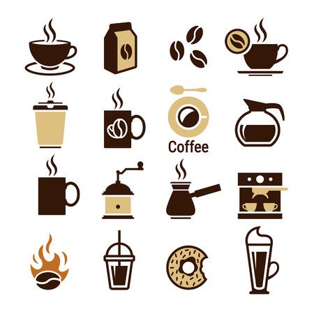 Koffie pictogrammen instellen. Bruine kleurensymbolen op een witte achtergrond