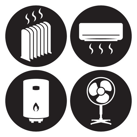 Heating icons set. White on a black background