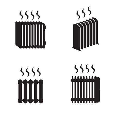 Heating radiator icons set. Black on a white background