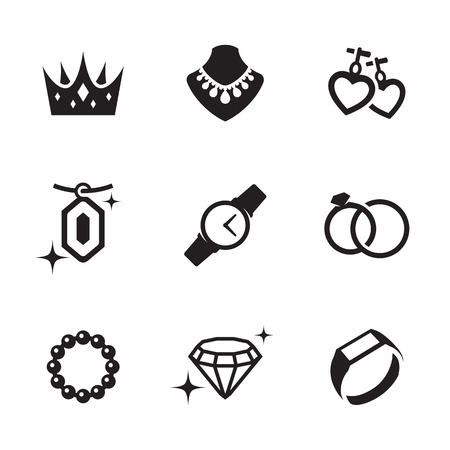 Jewelry icons set. Black on a white background Ilustração