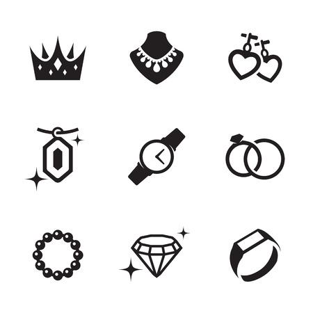 Jewelry icons set. Black on a white background Illustration