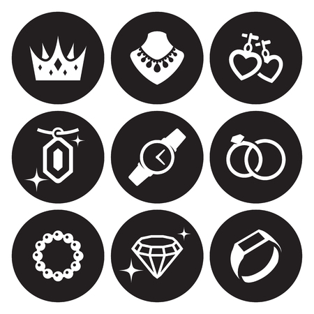 Jewelry icons set. White on a black background