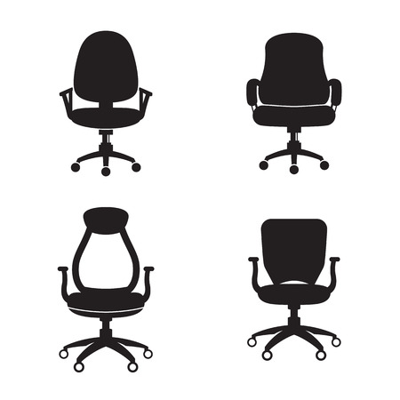 Office chair icons set. Black on a white background
