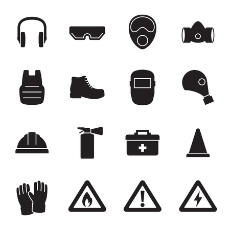 Work safety, protection equipment icons set. Black on a white background