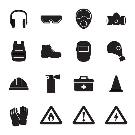 Work safety, protection equipment icons set. Black on a white background Reklamní fotografie - 84737155