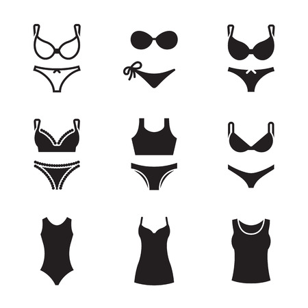 Underwear icons set. Black on a white background