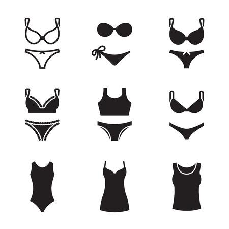 Underwear icons set. Black on a white background