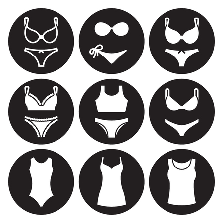 Underwear icons set. White on a black background