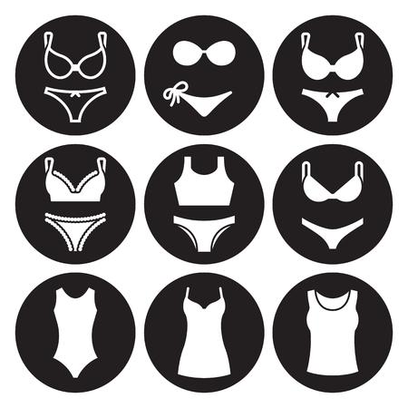 Underwear icons set. White on a black background