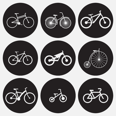 Bicycle icons set. White on a black background