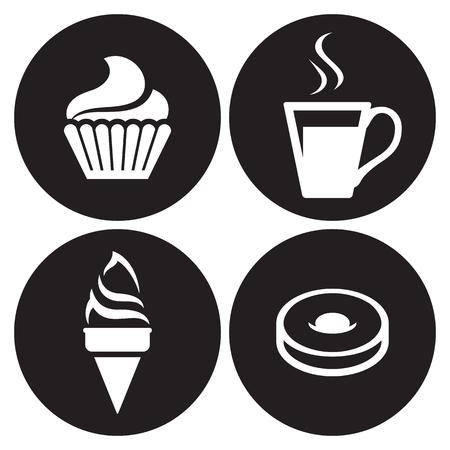 Cafe icons set. White on a black background Ilustração