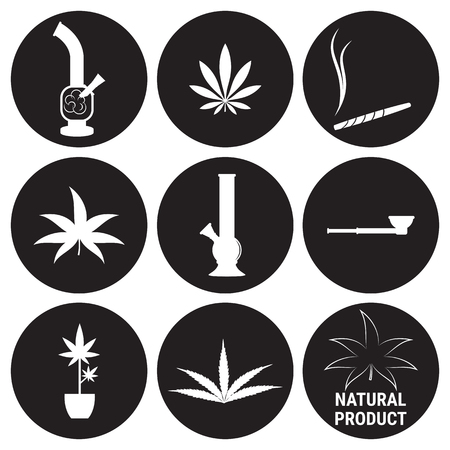 Cannabis icons set. White on a black background Illustration