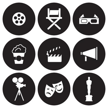 icônes de cinéma mis . noir sur un fond noir
