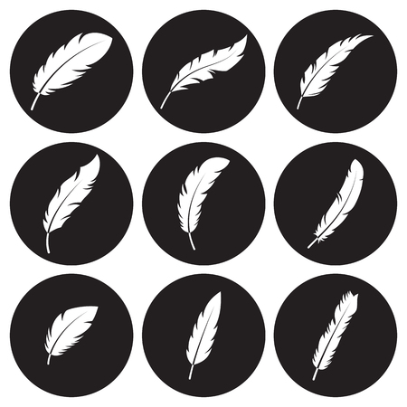 Feather icons set. White on a black background