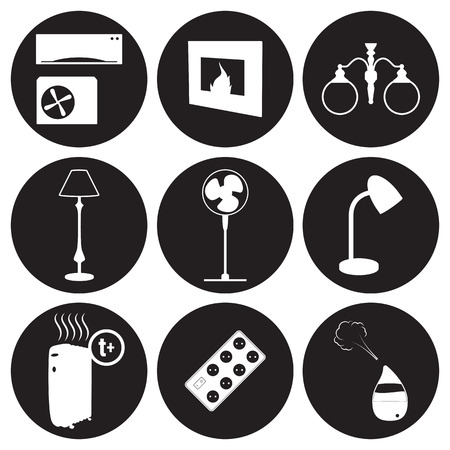 Equipment for house icons set. White on a black background Фото со стока - 84737282