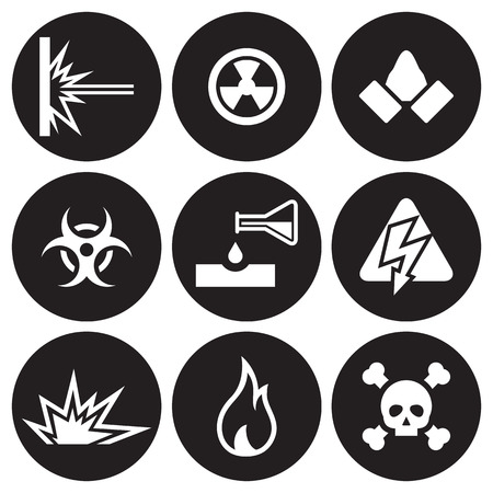 Hazard and danger icons set. White on a black background