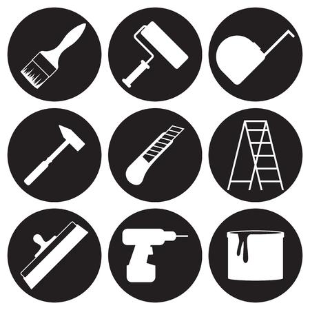 Home repair icons set. White on a black background Фото со стока - 84737292