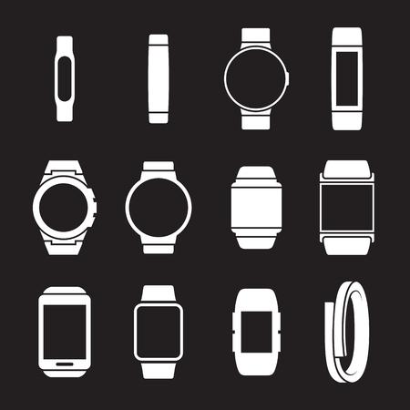 Smart watches icons set. White on a black background Illustration