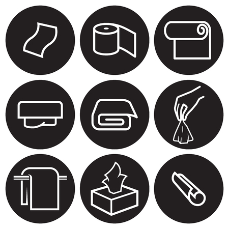 Towels icons set. White on a black background