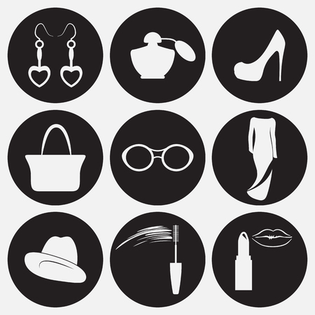 Womens accessories icons set. White on a black background Illustration