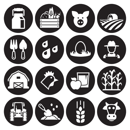 Farm icons set. White on a black background Illustration