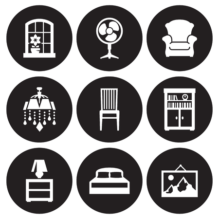 Furniture icons set. White on a black background