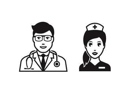 medico: Doctor with stethoscope. Black on a white background Illustration
