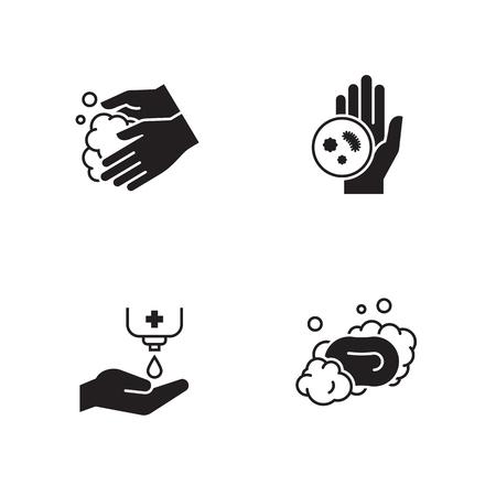 Hands hygiene icons set. Black on a white background Illustration