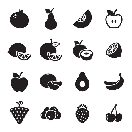 Fruit icons set. Black on a white background