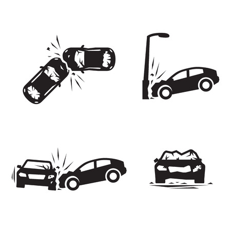 Crashed Cars vector Car eccident icons set. Black on a white background