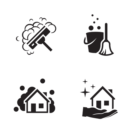 House cleaning services vector logo. Black icon on a white background Illustration