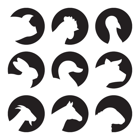 Farm Animal Icons. White on a black background Illustration