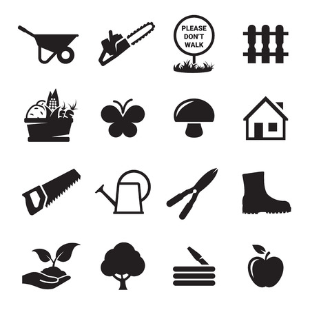 secateurs: Gardening tools icons set. Black on a white background