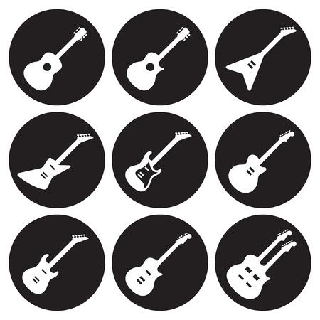 Guitars icons set. White on a black bacgkround