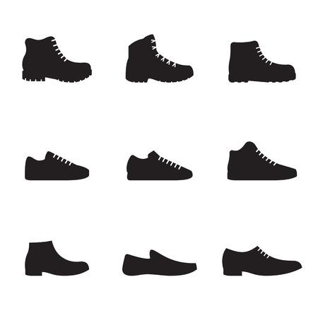 Zapatos para hombres Sirve calzado como zapatillas de cuero y botas de invierno y otoño aisladas sobre fondo blanco. Ilustración vectorial
