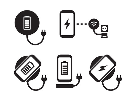 Wireless charging for smartphone icons set. Black on a white background Illustration
