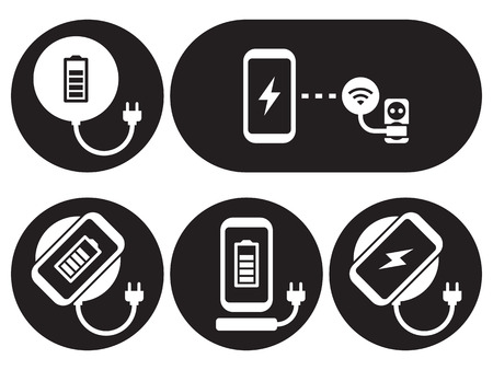 Wireless charging for smartphone icons set. White on a black background