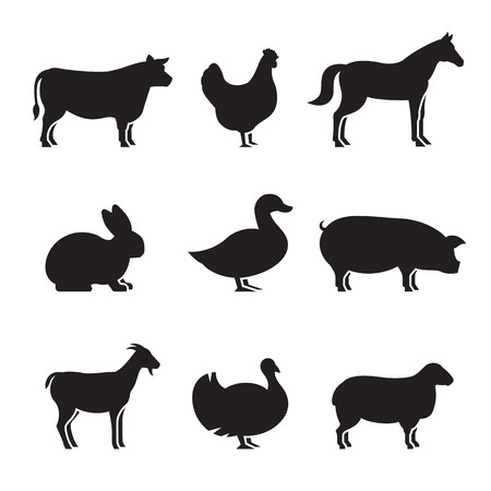 Farm animals silhouettes icons set