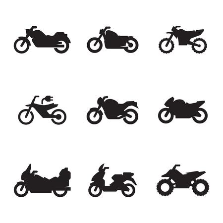 Motorcycles icon set Illustration