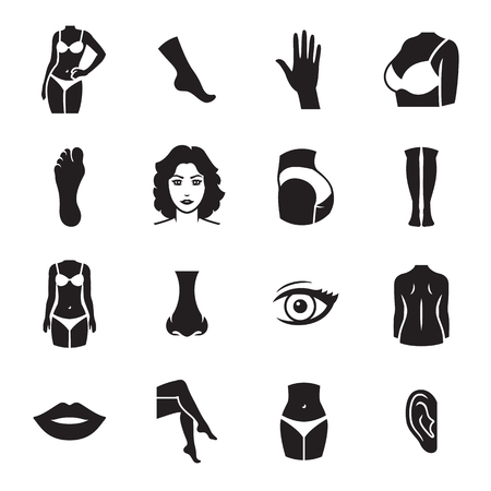 Human body parts icons. Black on a white background Illustration