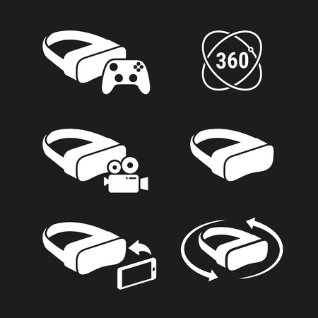 vr icons. White on a black background
